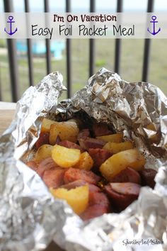 Foil Recipes for Vacation by Sparkles And A Stove: who wants to cook a big complicated meal on vacation? Sausage, potatoes, and red onions cooked in a foil packet in oil and seasoning. Delicious and bonus- no dishes! Can be done on grill or in oven.