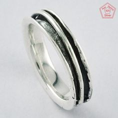 ELEGANT BEAUTY DESIGN !! Solid 925 STERLING SILVER SPINNER RING S.7.5 US, R3869 #SilvexImagesIndiaPvtLtd #Spinner