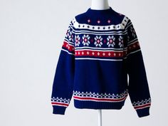 Cute Vintage Navy Blue, White, & Red Sweater- Great Condition on Etsy, $25.00