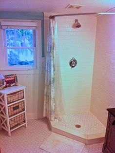 Neo Angle Shower Design Ideas: You can hang a shower curtain instead of doors...try for the garage bathroom
