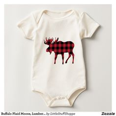 Buffalo Plaid Moose, Lumberjack Style, Red Black Baby Bodysuit #baby bodysuit #baby clothing #baby organic #organic #buffalo #lumberjack #affiliate