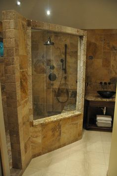 cabina ducha piedra estilo rustico