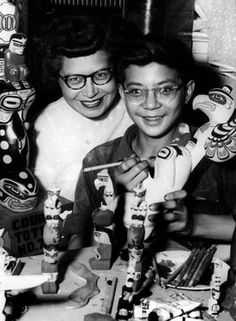 Ellen Neel and Son David, photo from the Vancouver Sun.    Traditional native art rediscovered its roots just as it became more commercial and more modern in the 1960s.