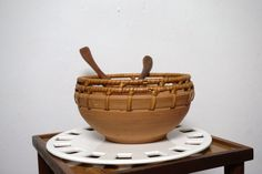 Vintage Terracotta Clay Bowl - Serving Bowl - Decorative Pottery Basket - Boho Chic by MODernThrowback on Etsy