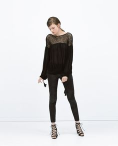 ZARA - WOMAN - PUFFED SLEEVE COMBINED LACE SHIRT
