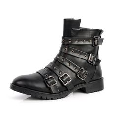 Buy Hot Personalized Black Leather Steam Punk Gothic Battle Boots Men SKU-1280466
