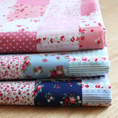 This fabric is a beautiful cotton fabric, square patchwork, rose, plaid, dots in red blue pink color, blue shabby chic style.The bundle sets for
