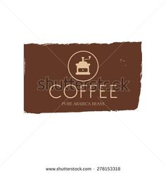 Coffee stamp or logo design, printing element, packing decoration, sign, illustration for menu, coffee shop.