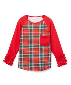 Love this Red & Green Tartan Ruffle-Sleeve Raglan Tee - Infant & Girls on #zulily! #zulilyfinds