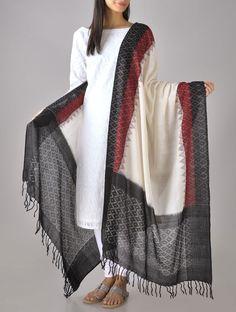 Buy Black Maroon Ivory Deep Vermilion Ikat Cotton Dupatta Online at Jaypore.com Salwar Designs, Kurta Designs Women, Blouse Designs, Pallazo Pants, Ikkat Dresses, Womens Dress Suits, Kurti Patterns, Indian Outfits, Indian Clothes