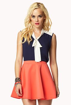 Colorblocked Neck-Tie Shirt | FOREVER21 - 2049160157 11.90