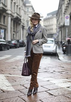 Our very own International Fashion Editor, Sarah Ann Murray channeling some suitably autumnal style in soft brown moleskin and grey checked flannel. www.therakeonline.com