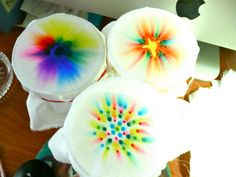 """Tie-dye with Permanent Markers __  from iamsusie blogspot: """"You draw on fabric with Sharpies (I suppose you can also use other types of permanent markers...) Draw a design that is at least an inch in diameter. More ink bleeds more. Drip rubbing alcohol into the center of the design and watch the ink bleed out to beautiful effect. More highly concentrated alcohol works better. Look for 70% or more concentrate at the drug store. This is probably what you already have in the cabinet."""""""