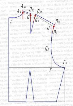 Выкройка лифа с цельнокроеным коротким рукавом I. Пошаговая инструкция построения.