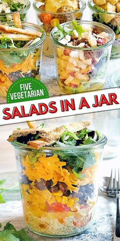 These Vegetarian Salad in a Jar recipes make easy and healthy meal prep lunches you will love! Apple & Candied Pecans, Greek Veggie, Tex Mex, Panzanella and Falafel salads with homemade dressings offer lots of variety and flavor for a delicious and light meal.