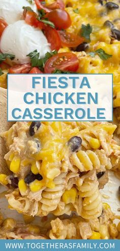 Fiesta Chicken Casserole is an easy chicken casserole recipe that is so simple to make with chicken, pasta, black beans, corn, seasonings, and cheese! This is a family favorite dinner recipe that is always a hit at the dinner table. Perfect back to school dinner idea for busy days.