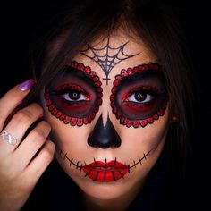 (notitle) - Make-up Art - halloween makeup Candy Skull Makeup, Halloween Makeup Sugar Skull, Cute Halloween Makeup, Halloween Looks, Sugar Skull Costume, Day Of Dead Makeup, Day Of The Dead Makeup Half Face, Maquillage Halloween Vampire, Maquillage Sugar Skull