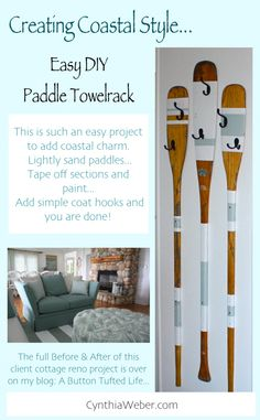 DIY Paddle towelrack This easy project will add coastal charm to any space. #Homedecor CynthiaWeber.com