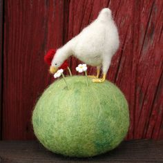 Pecking Hen Pincushion Needle Felted by BossysFeltworks