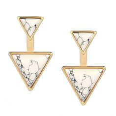 Yoins White Double Triangle Stud Earrings (4.06 CHF) ❤ liked on Polyvore featuring jewelry, earrings, white, turquoise stud earrings, white earrings, turquoise jewelry, druzy jewelry and turquoise post earrings