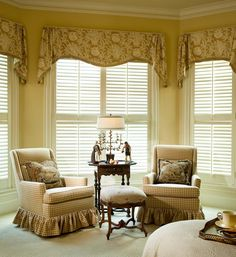 Traditional Bedroom by Chambers Interiors & Associates, Inc. Valances For Living Room, Living Room Windows, Cute Living Room, Living Room Grey, Valences For Windows, Sunroom Windows, Victorian Curtains, Cool Curtains, Window Coverings