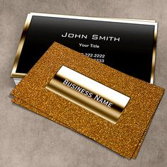 Customizable Luxury Gold Label Glitter Background Business Card