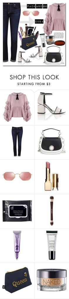 """""""Pack and go Cuba"""" by vkmd ❤ liked on Polyvore featuring For Love & Lemons, Alexander Wang, AG Adriano Goldschmied, Michael Kors, Ray-Ban, Clarins, e.l.f., Hourglass Cosmetics, Urban Decay and Lancôme"""