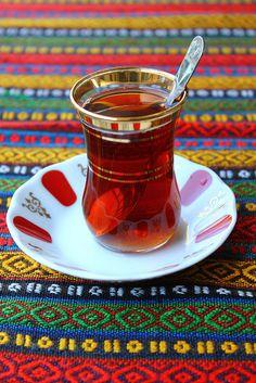 sweet hot tea with fresh mint
