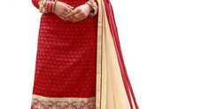 INQUIRY WHATSAPP /  Call- 91 9624913609 Women's Semi-Stitched Red And Cream Colour Georgette Salwar Kameez For Party Wear / Festival Wear / Office And Casual Wear http://www.justkartit.com/index.php?route=product%2Fproduct&product_id=5052&utm_source=dlvr.it&utm_medium=facebook&utm_campaign=justkartit #Diwali