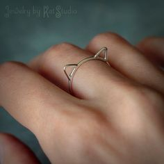 Cat ears ring  Crazy Cat Lady  cat ring  Sterling by Katstudio, $21.00