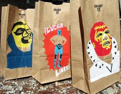 Items similar to LUCHA LIBRE Luminarias Pk Handprinted Paper Party Bags feat. Ideal Mexican Wrestlers on Etsy Nacho Libre, 2nd Birthday Parties, Boy Birthday, Birthday Ideas, Paper Party Bags, Paper Bags, Mexican Party, Childrens Party, Party Planning