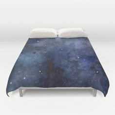 Night Sky Stars Galaxy | Watercolor Duvet Cover by Olechka | Society6