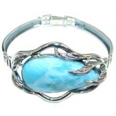 AAA+ quality Blue Larimar Oxidized Sterling Silver handmade Bracelet / Cuff