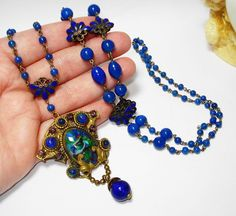 FAB Czech Art Glass Enamel Sautoir Necklace OLD BEAUTY! from decadentdiva on Ruby Lane