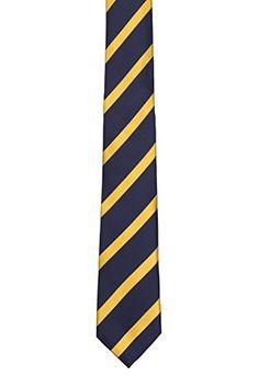 Notch Men's Silk Slim Necktie – TURE – Dark blue base with yellow stripes  http://www.yourneckties.com/notch-mens-silk-slim-necktie-ture-dark-blue-base-with-yellow-stripes/