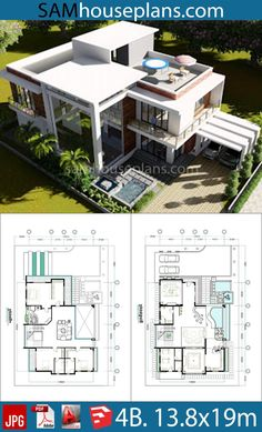 architecture plan 4 Bedroom Home Plan - Sam House Plans Modern House Floor Plans, Sims House Plans, Beach House Plans, House Layout Plans, Duplex House Plans, Bungalow House Design, Luxury House Plans, Dream House Plans, House Layouts