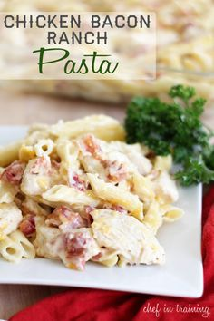 Chicken Bacon Ranch Pasta…Easy and DELICIOUS! I pan cooked the chicken with some Italian seasoning and pepper. Also cooked fresh bacon. I used about 2oz more pasta than recommended and it was WAY too much for two people. Definitely make again!