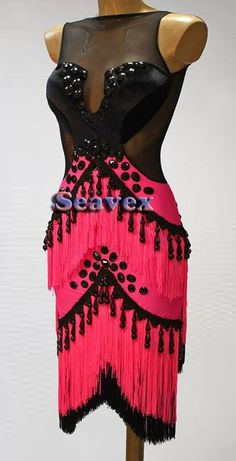 U5409 Fringing ballroom women swing chacha Latin salsa samba dance dress US 10