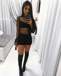 Keii // black outfit outfits looks para balada, looks com bo Skirt Outfits, Sexy Outfits, Trendy Outfits, Fall Outfits, Summer Outfits, Cute Outfits, Fashion Outfits, Womens Fashion, Black Outfits