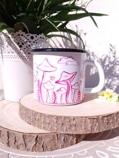 ✧✧✧FIREFLY MUSHROOMS ENAMEL MUG✧✧✧ ✧Choose this unique hand painted camping mug for your favourite hikings, tea time or coffee with friends! ✧Cute small mushrooms in the darkest forest where the magic is hidden and the fireflies just started to come out of their homes to throw some stardust around the woodland✧ ✧Mug is handpainted with a little bit of imagination and a bit of magic✧ its perfect as a gift for your loved ones, or you might just gift it to yourself!✧ Coffee With Friends, Hand Painted Mugs, Boho Kitchen, Fireflies, Dark Forest, Tea Time, Imagination, Woodland, Kitchen Ideas
