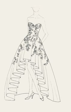 Wedding Dress with embroidered Flowers and beads. By Moda Artisans Dress Design Drawing, Dress Design Sketches, Fashion Design Sketchbook, Fashion Design Drawings, Drawing Art, Drawing Sketches, Gown Drawing, Sketchbook Drawings, Drawing Faces