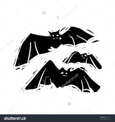 Rough Woodcut Illustration Of A Halloween Bats - 84423118 ...