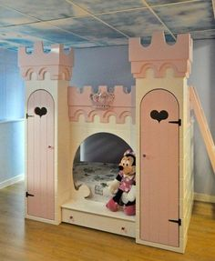 Pink Princess Castle Bunk Bed with Ladder