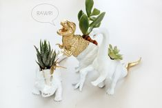 ***DIY: Dinosaur Planters.  Another version. I like to collect them all to see the differences btwn them. Can't wait to make for Valentine's day this year for my 4yr old and fiance! ♡C13