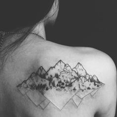 Image de tattoo, mountains, and black and white