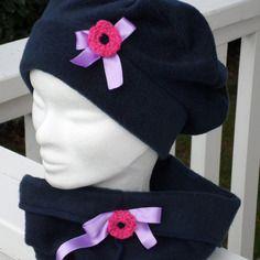 Ensemble bonnet chapeau béret et snood polaire marine enfant confortable unique hiver