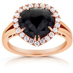Rose-cut Black Diamond Halo Style Engagement Ring 2 3/4 CTW in 14k... ($1,700) ❤ liked on Polyvore featuring jewelry, rings, rose cut engagement ring, black diamond ring, 14 karat gold ring, 14k black diamond ring and pink gold ring