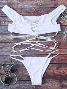 $18.99 Strappy Off The Shoulder Bikini Set - WHITE S