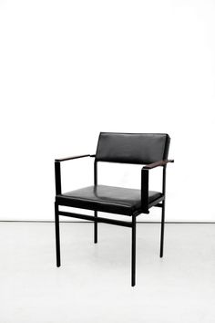 Cees Braakman; #FM17 Enameled Metal, Teak and Letherette Armchair for UMS Pastoe, c1965.
