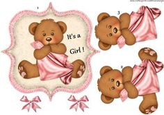 It s a Girl on Craftsuprint designed by Marijke Kok - Cute card for a new baby girl/